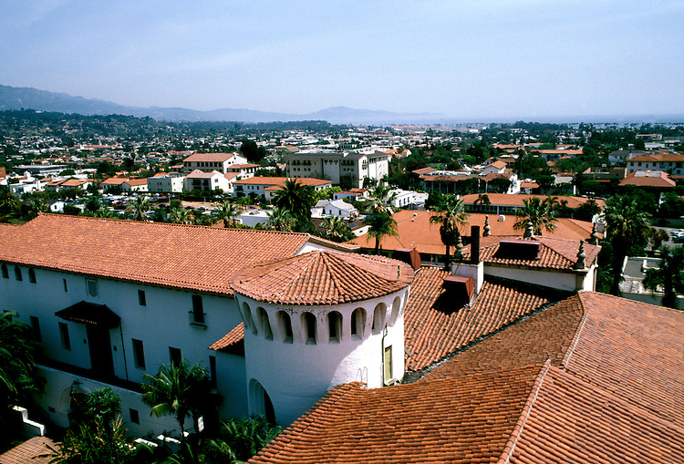 California: Santa Barbara. Red tile roof architecture of Courthouse.  Photo #: casbar101.  Photo copyright Lee Foster, 510/549-2202, lee@fostertravel.com, www.fostertravel.com