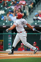 Louisville Bats designated hitter Donald Lutz (19) at bat during a game against the Buffalo Bisons on June 20, 2016 at Coca-Cola Field in Buffalo, New York.  Louisville defeated Buffalo 4-1.  (Mike Janes/Four Seam Images)