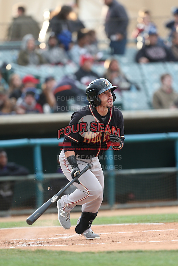 Zach Osborne (2) of the Modesto Nuts bats during a game against the Lancaster JetHawks at The Hanger on April 25, 2015 in Lancaster, California. Lancaster defeated Modesto, 5-4. (Larry Goren/Four Seam Images)