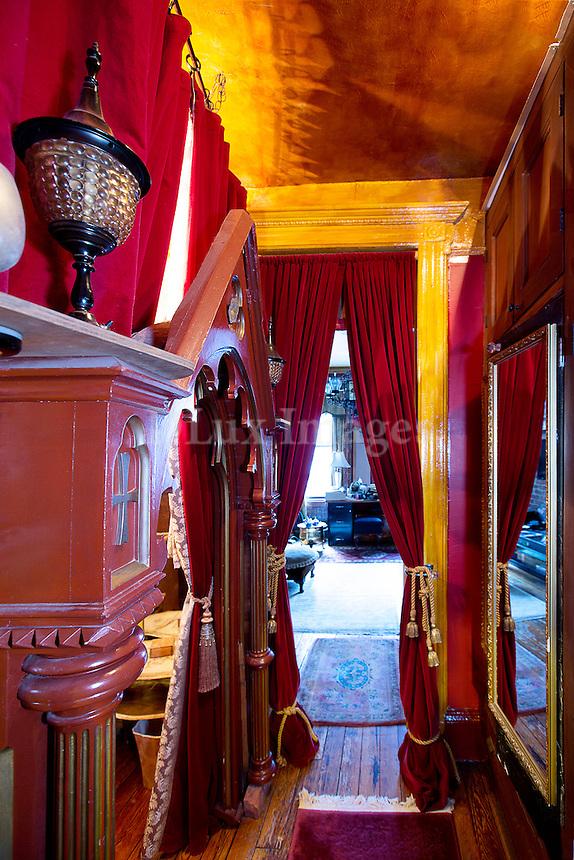 Hallway with doorway curtain