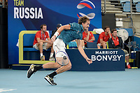 11th January 2020; Sydney Olympic Park Tennis Centre, Sydney, New South Wales, Australia; ATP Cup Australia, Sydney, Day 9; Serbia versus Russia;  Novak Djokovic versus Daniil Medvedev; Daniil Medvedev of Russia rushes to the net in his match against Novak Djokovic of Serbia - Editorial Use