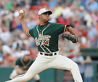 August 13, 2009: RHP Sandy Rosario (46) of the Greensboro Grasshoppers, Class A affiliate of the Florida Marlins, in a game at Fluor Field at the West End in Greenville, S.C. Photo by: Tom Priddy/Four Seam Images