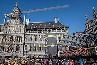 just half of the spectacular start podium in the center square of the (new) race start town of Antwerpen<br /> <br /> 101th Ronde Van Vlaanderen 2017 (1.UWT)<br /> 1day race: Antwerp &rsaquo; Oudenaarde - BEL (260km)