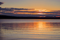 WASJ_D243 - USA, Washington, San Juan Islands, Orcas Island, Sunset from West Beach over Waldron Island and President Channel.