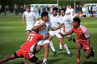 Lemeki Namoa in action during the international rugby match between  New Zealand Schools Barbarians and Tonga Schools at the Sport and Rugby Institute in Palmerston North, New Zealand on Thursday, 28 September 2017. Photo: Dave Lintott / lintottphoto.co.nz