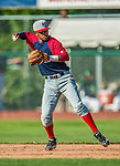 29 June 2014:  Lowell Spinners second baseman Deiner Lopez in action against the Vermont Lake Monsters at Centennial Field in Burlington, Vermont. The Spinners defeated the Lake Monsters 7-5 in NY Penn League action. Mandatory Credit: Ed Wolfstein Photo *** RAW Image File Available ****