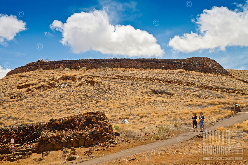 Female tourists at Pu'ukohola Heiau National Historic Site, Kawaihae, Kohala, Big Island.