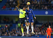 2nd February 2019, Stamford Bridge, London, England; EPL Premier League football, Chelsea versus Huddersfield Town; Andreas Christensen of Chelsea and Steve Mounie of Huddersfield Town compete for the ball