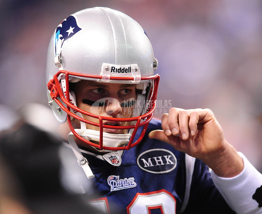 Feb 5, 2012; Indianapolis, IN, USA; New England Patriots quarterback Tom Brady before Super Bowl XLVI against the New York Giants at Lucas Oil Stadium.  Mandatory Credit: Mark J. Rebilas-