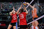 25.08.2018, …VB Arena, Bremen<br />Volleyball, LŠ&auml;nderspiel / Laenderspiel, Deutschland vs. Niederlande<br /><br />Jennifer Geerties (#6 GER), Denise Hanke (#3 GER) - Block Yvon Belien (#3 NED)<br /><br />  Foto &copy; nordphoto / Kurth
