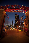 Lake Point Tower seen through the Navy Pier entrance arch at twilight, Chicago, IL, USA