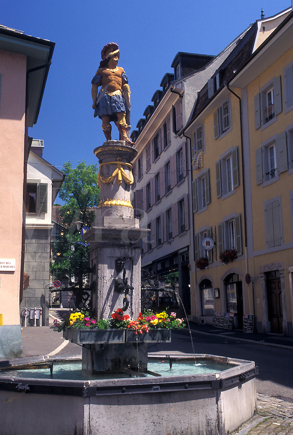 fountain, Switzerland, Vevey, Vaud, Fountain along a narrow street in downtown Vevey in the Canton of Vaud.