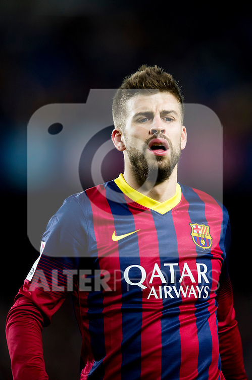 FC Barcelona's Gerard Pique gestures during La Liga 2013-2014 match against RCD Espanyol. November 1, 2013. (ALTERPHOTOS/Alex Caparros)