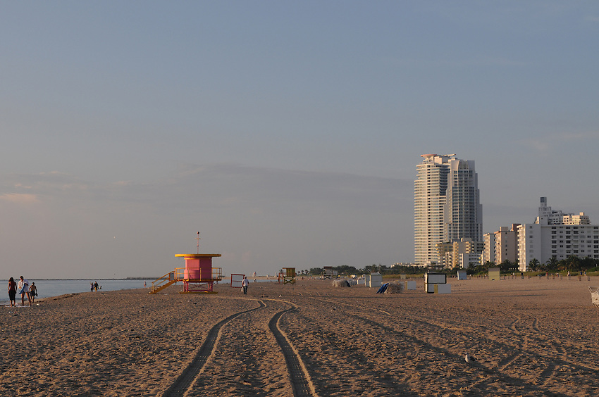 Miami Beach, South Beach, Early morning, People enjoying the Sunrise, near the Pink Lifeguaurd Hut