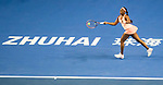 Sloane Stephens of United Sates hits a return during the singles Round Robin match of the WTA Elite Trophy Zhuhai 2017 against Barbora Strycova of Czech Republic at Hengqin Tennis Center on November  03, 2017 in Zhuhai, China.  Photo by Yu Chun Christopher Wong / Power Sport Images