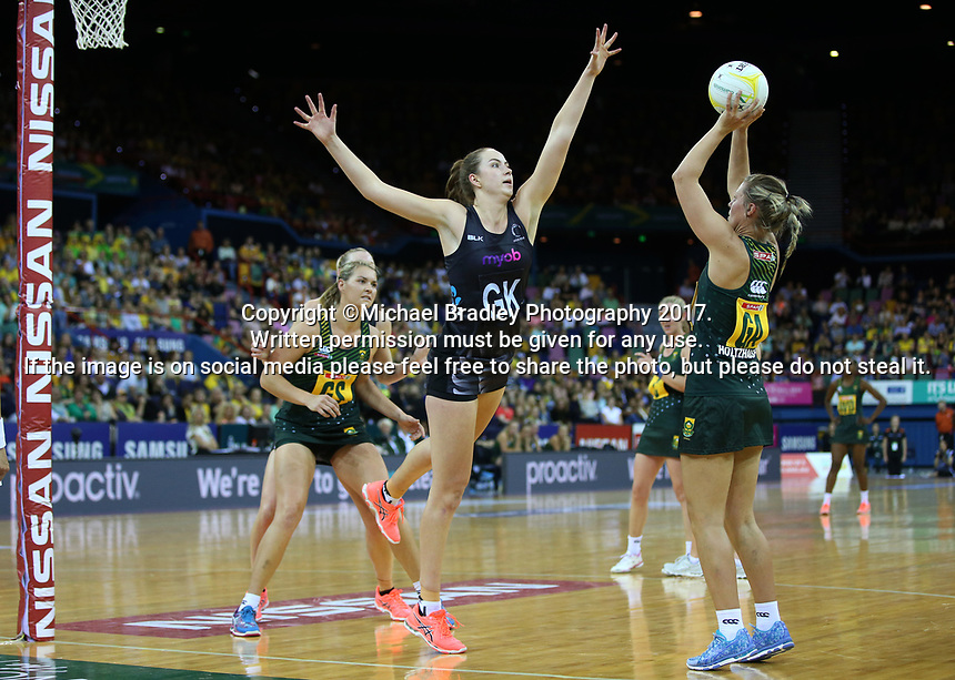02.08.2017 Silver Ferns Kelly Jusy (C) and South Africa's Maryka Holtzhausen (R) in action during a netball match between the Silver Ferns and South Africa at the Brisbane Entertainment Centre in Brisbane Australia. Mandatory Photo Credit ©Michael Bradley.