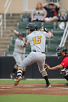 Logan Hill (15) of the West Virginia Power at bat against the Kannapolis Intimidators at Kannapolis Intimidators Stadium on August 20, 2016 in Kannapolis, North Carolina.  The Intimidators defeated the Power 4-0.  (Brian Westerholt/Four Seam Images)