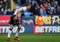 Bolton Wanderers' Callum Connolly winces after a tackle<br /> <br /> Photographer Andrew Kearns/CameraSport<br /> <br /> The EFL Sky Bet Championship - Bolton Wanderers v Millwall - Saturday 9th March 2019 - University of Bolton Stadium - Bolton <br /> <br /> World Copyright © 2019 CameraSport. All rights reserved. 43 Linden Ave. Countesthorpe. Leicester. England. LE8 5PG - Tel: +44 (0) 116 277 4147 - admin@camerasport.com - www.camerasport.com
