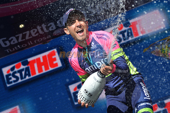 Diego Ulissi (ITA) Lampre-Merida wins Stage 5 of the 2014 Giro d'Italia, a 203km hilly stage running from Taranto to Viggiano, Italy.11th May 2014.<br /> Picture: Gian Mattia D'Alberto/LaPresse/www.newsfile.ie