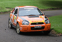 Jock Armstrong / Kirsty Riddick near Junction 10 on the Gleaner Oil & Gas Cooper Park Special Stage 1 of the Gleaner Oil & Gas Speyside Stages Rally 2012, Round 6 of the RAC MSA Scotish Rally Championship which was organised by The 63 Car Club (Elgin) Ltd and based in Elgin on 4.8.12........