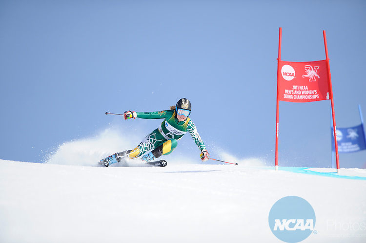 9 MAR 2011: Skiers compete in the women's giant slalom alpine race during the 2011 NCAA Men and Women's Division I Skiing Championship held Stowe Mountain Resort and Trapp Family Lodge in Stowe, VT. ©Brett Wilhelm/NCAA Photos