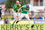 Sean Maunsell Kilmoyley in action against Thomas Slattery Ballyduff in the County Senior Hurling Final at Austin Stack Park on Sunday.