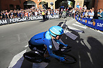 Pello Bilbao (ESP) Astana Pro Team rounds the hairpin to commence the San Luca climb during Stage 1 of the 2019 Giro d'Italia, an individual time trial running 8km from Bologna to the Sanctuary of San Luca, Bologna, Italy. 11th May 2019.<br /> Picture: Eoin Clarke | Cyclefile<br /> <br /> All photos usage must carry mandatory copyright credit (© Cyclefile | Eoin Clarke)