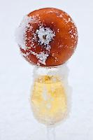 Amérique/Amérique du Nord/Canada/Québec/ Env de Québec/Île d'Orléans/Saint-Pierre-de-l'Île-d'Orléans: Cidre de Glace au Verger - Cidrerie Bilodeau<br /> Restées accrochées aux arbres jusqu'au cœur de l'hiver, les pommes gelées sont desséchées par le froid, le soleil et le vent. Elles sont cueillies l'hiver, lorsque la température oscille entre -8 °C et -15 °C. Les pommes sont ensuite pressées encore gelées et on recueille le nectar qui sera fermenté à basse température pendant près de huit mois
