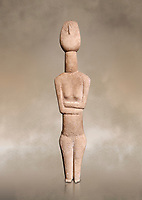Cycladic Canonical type, Spedos variety female figurine statuette. Early Cycladic Period II from Syros phase , (2800-2300 BC). Attributed to the 'Copenhagen Master' Museum of Cycladic Art Athens, <br /> <br /> The short legs have no knees and end in rudimentary feet. The legs probably broke at the knees and an artists remodelled  the truncated legs with toes. It is a rare example of remodelling in Cycladic art