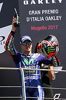 Maverick ViÒales of Spain  and Movistar Yamaha MotoGP second during the Moto GP Grand Prix at the Mugello race track on June 4, 2017 celebrates on the podium. <br /> MotoGP Italy Grand Prix 2017 at Autodromo del Mugello, Florence, Italy on 4th June 2017. <br /> Photo by Danilo D'Auria.<br /> <br /> Danilo D'Auria/UK Sports Pics Ltd/Alterphotos /NortePhoto.com