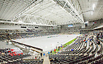 Stockholm 2015-03-14 Bandy Bronsmatch Hammarby IF - Villa Lidk&ouml;ping BK :  <br /> Vy &ouml;ver Tele2 Arena med publik och tomma l&auml;ktarsektioner under matchen mellan Hammarby IF och Villa Lidk&ouml;ping BK <br /> (Foto: Kenta J&ouml;nsson) Nyckelord:  Tele2 Arena SM Brons Bronsmatch Tredjepris herr herrar Hammarby HIF Bajen Villa Lidk&ouml;ping VLBK inomhus interi&ouml;r interior tom tomma supporter fans publik supporters