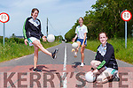 Lorna Hickey, Niamh Broderick and Christine O'Carroll participating in the Mid Kerry Ladies Gaels #1 Million Solos challenge in aid of ISPCC Childline charity