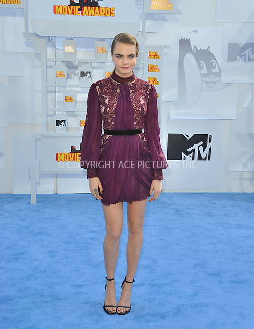 WWW.ACEPIXS.COM<br /> <br /> April 12 2015, LA<br /> <br /> Cara Delevingne arriving at the 2015 MTV Movie Awards at the Nokia Theatre L.A. Live on April 12, 2015 in Los Angeles, California.<br /> <br /> By Line: Peter West/ACE Pictures<br /> <br /> <br /> ACE Pictures, Inc.<br /> tel: 646 769 0430<br /> Email: info@acepixs.com<br /> www.acepixs.com