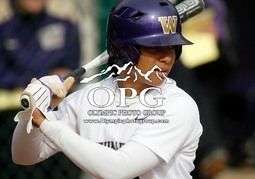 14 March 2010:  Washington Huskies #3 Niki Williams sets up in the batters box against Seattle University. Washington defeated Seattle University 8-3 at Husky Softball Stadium in Seattle, WA.