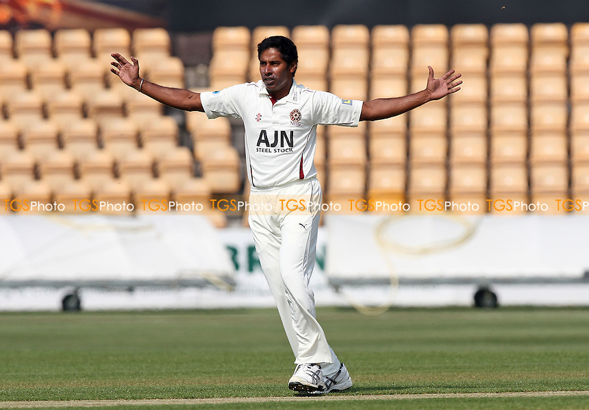 Chaminda Vaas claims the wicket of Essex batsman Billy Godleman - Northamptonshire CCC vs Essex CCC - LV County Championship Division Two Cricket at the County Ground, Northampton - 20/04/11 - MANDATORY CREDIT: Gavin Ellis/TGSPHOTO - Self billing applies where appropriate - Tel: 0845 094 6026