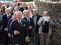 Pictured: Prince Charles arrives at the Memorial Garden in Aberfan Friday 21 October 2016<br />