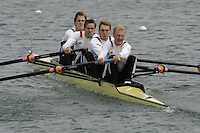 Munich, GERMANY, 2006, FISA, Rowing, World Cup, GER M4- Bow Martin Veith, 2. Jan Dehoust,3. Phillipp Naruhn and Florian Eichner,   held on the Olympic Regatta Course, Munich, Thurs. 25.05.2006. © Peter Spurrier/Intersport-images.com,  / Mobile +44 [0] 7973 819 551 / email images@intersport-images.com..[Mandatory Credit, Peter Spurier/ Intersport Images] Rowing Course, Olympic Regatta Rowing Course, Munich, GERMANY