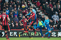 Shkodran Mustafi of Arsenal & Lys Mousset of AFC Bournemouth during the Premier League match between Bournemouth and Arsenal at the Goldsands Stadium, Bournemouth, England on 14 January 2018. Photo by Andy Rowland.