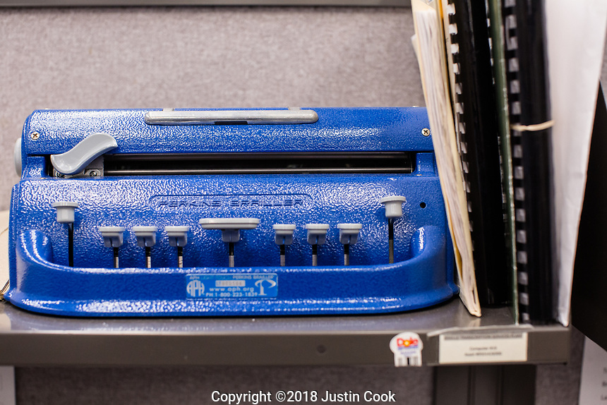 A old Perkins Braille typewriter at Scotland Correctional Institution in Laurinburg, NC Tuesday, January 16, 2018. (Justin Cook for The Marshall Project)