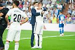 Spanish canoeist Carlos Garrote and Sergio Ramos before La Liga match between Real Madrid and RCD Espanyol at Santiago Bernabeu Stadium in Madrid, Spain. September 22, 2018. (ALTERPHOTOS/Borja B.Hojas)