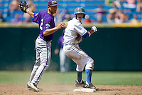 TCU 2B Jerome Pena tags UCLA's Niko Gallego in Game 13 of the NCAA Division One Men's College World Series on June 26th, 2010 at Johnny Rosenblatt Stadium in Omaha, Nebraska.  (Photo by Andrew Woolley / Four Seam Images)