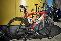 Jürgen Roelandts' Ridley Noah with classic retro design in front of the start podium<br /> <br /> 2014 Tour de France<br /> stage 12: Bourg-en-Bresse - Saint-Etiènne (185km)
