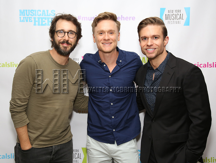 "Josh Groban, Josh Canfield and Hunter Ryan Herdlicka backstage at the New York Musical Festival production of  ""Alive! The Zombie Musical"" at the Alice Griffin Jewel Box Theatre on July 29, 2019 in New York City."