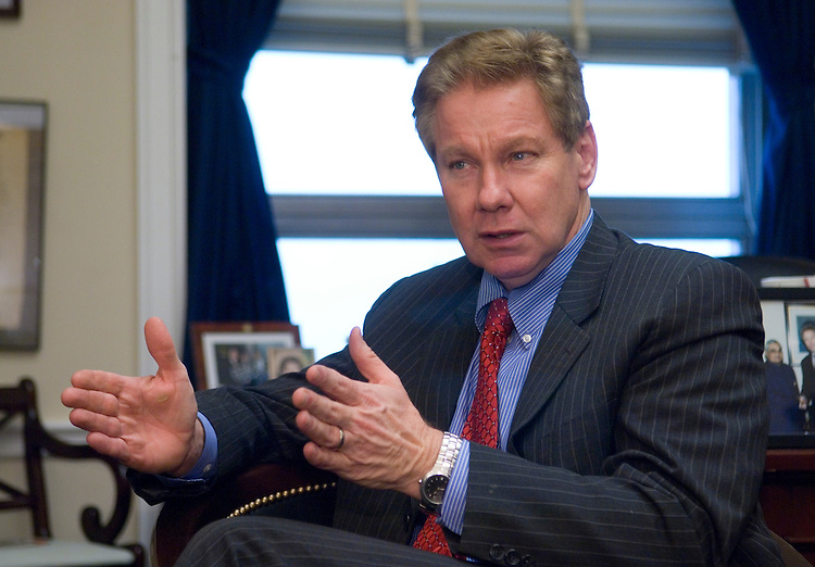 Rep. Tom Davis, R-Va., speaks to Roll Call in his Capitol Hill office on Feb. 13, 2007.