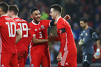 Tom Lawrence of Wales celebrates scoring his sides first goal of the match with Neil Taylor during the International Friendly match between Wales and Panama at The Cardiff City Stadium, Wales, UK. Tuesday 14 November 2017
