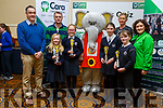 Spa NS students, winners of the U11 Quiz at the Cara Credit Union Quiz in the Brandon Hotel on Sunday. <br /> Students l to r: Abby Stevenson, Molly Dwyer Diggins, Anna O'Sullivan and Anna Chute with Pa Laide (Manager Cara Credit Union), Peter Linihan (Principal), Caroline Sugrue and Siobhan Donnelly (Cara Credit Union)
