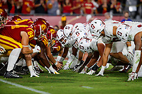 LOS ANGELES, CA - SEPTEMBER 8: Stanford Cardinal lines up to defend a USC Trojans field goal attempt during a game between USC and Stanford Football at Los Angeles Memorial Coliseum on September 7, 2019 in Los Angeles, California.