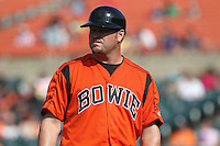 Bowie Baysox third base coach Denny Hocking during a game against the New Hampshire Fisher Cats at Prince George's Stadium on June 17, 2012 in Bowie, Maryland. New Hampshire defeated Bowie 4-3 in 13 innings. (Brace Hemmelgarn/Four Seam Images)