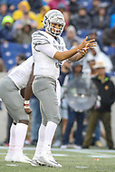 Annapolis, MD - September 8, 2018: Memphis Tigers quarterback Brady White (3) calls a play during the game between Memphis and Navy at  Navy-Marine Corps Memorial Stadium in Annapolis, MD.   (Photo by Elliott Brown/Media Images International)