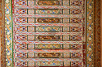 Berber arabesque painted wood ceiling.The Petite Court, Bahia Palace, Marrakesh, Morroco